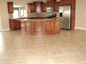 Tile Floor Kitchen.  Stairs_Custom_tile_riser_with_wood_treds_trimmed_op_720x711